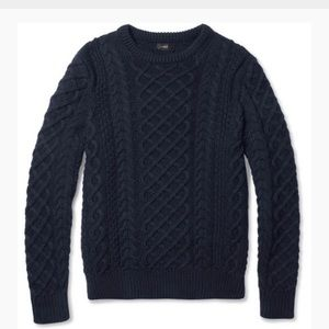 J.Crew Cable-Knit Cotton Crew Neck Sweater Navy XS